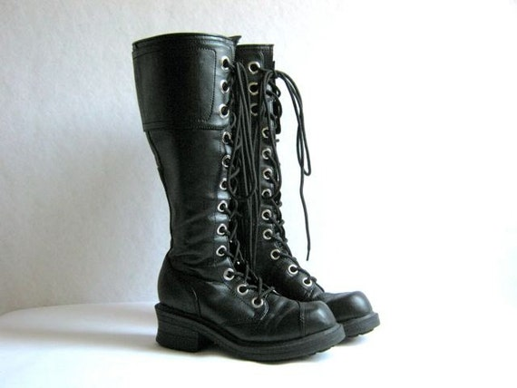 Vintage Tall Goth Boots Lace Up Combat Boots Size 6