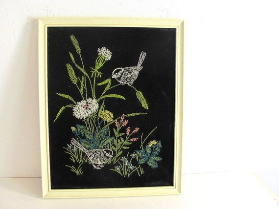 vintage colorful long stitch needlepoint Picture of Birds and Flowers on black felt
