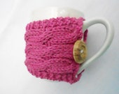 RTS. Ready to ship. In stock. Cable knitted cup cozy. Cozy cup. Hot pink. Cup warmer