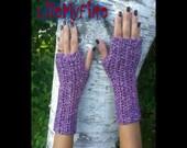 Mittens Fingerless Crochet - Purple & Cream