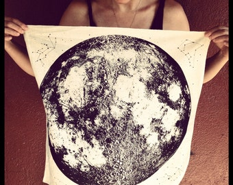 Moon Bandana, hand printed in Portland, reusable cloth, full moon, space stars and animal constellations print