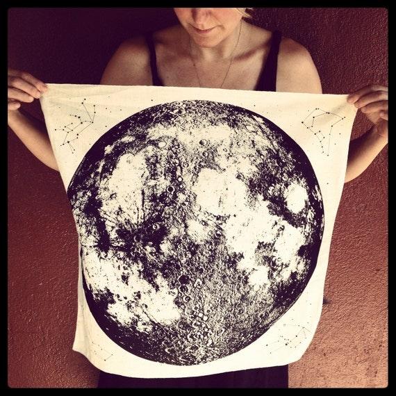 Organic Cream Moon Bandana, hand printed in Portland, reusable cloth, full moon, space stars and animal constellations print
