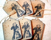 Gift Tags Set of 20 - Cracker Jack -  Navy Blue  - Vintage Style - Favor Tag - Wedding Tag - Party Tag