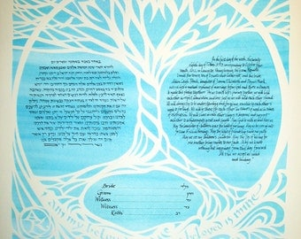 Tree of Life Ketubah - papercut wedding artwork and hand lettering - calligraphy