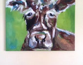ORIGINAL 16x20 Abstract Cow Painting