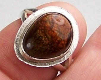 High Grade Mexican Fire Agate Sterling Silver Ring Size 6.5  Free US Shipping