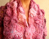 Pink  Spring Shawl Flower Floral Burgundy Crochet Angora Triangle Shawl