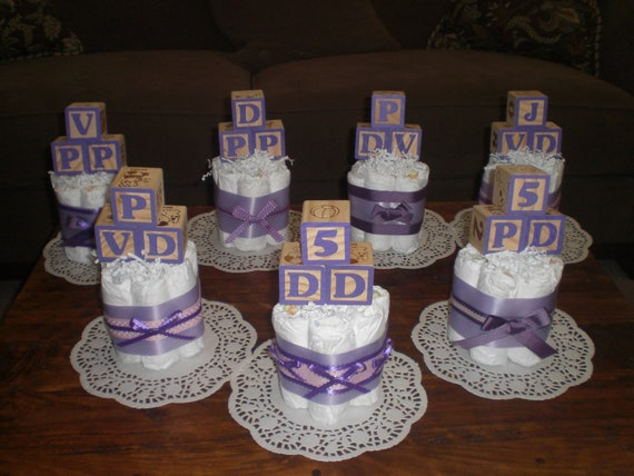 pink and purple baby blocks shower centerpieces diaper cakes other