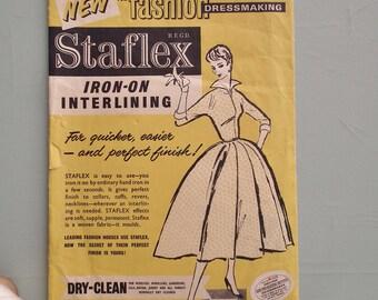 Vintage Sewing Supplies 1950s Staflex Dressmaking Interlining -  50s original packaging / graphics - needlework collectibles
