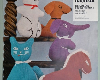 Knitted Soft Toys - Vintage 1970s Knitting Pattern - Rabbit Cat Horse Elephant Dog - 70s original pattern Hayfield No. 1055 UK