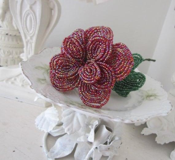 RESERVED MARILYN333 - Vintage French Beaded Flower - Rose - Glass Beads - Handmade