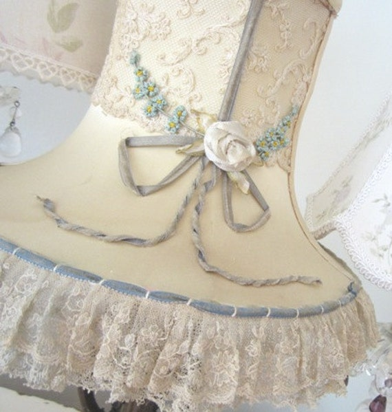 RESERVED - Antique Ribbonwork Lamp Shade - Tambour Lace - Shabby French Cottage - Vintage Vanity Boudoir