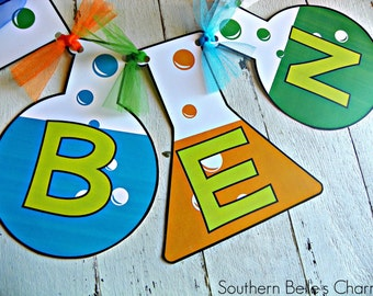 Scientist Name Banner...Set of 1 Name Banner - up to 5 letters
