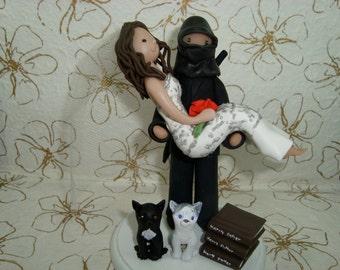 Wedding Cake Topper Personalized Bride And Ninja Groom Threshold Pose