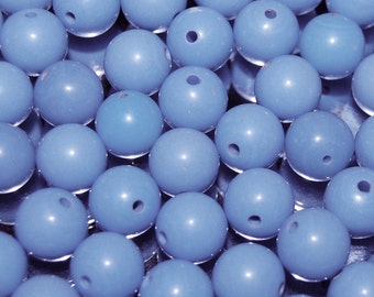 Vintage 24 Rich Baby Blue 10mm Round Lucite Beads N2R