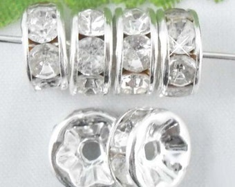 Vintage 10 Silver Plated Diamond Crystal Spacer 6mm Beads GR8