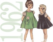 1960s Toddler Dress Vintage Pattern - Simplicity 4246 - Girls Jumper, Blouse and Bloomers Sewing Pattern