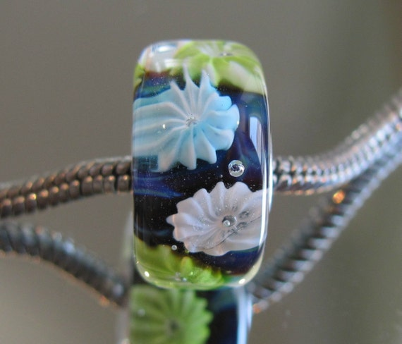 New WATER LILY Series Tangled Sky Glass Fireworks Fully Sterling Silver Lined Lampwork Charm Bead For Chamilia, Troll