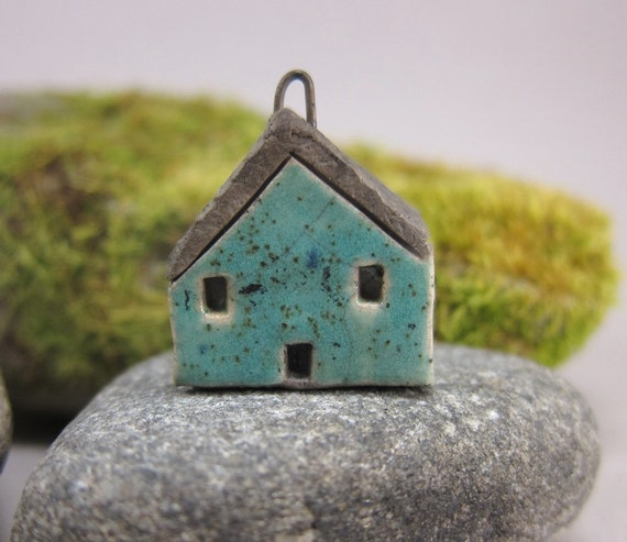 Turquoise GREEN...Saggar Fired Rustic House Pendant / Ornament