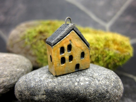 Yellow...Saggar Fired Rustic House Pendant / Ornament