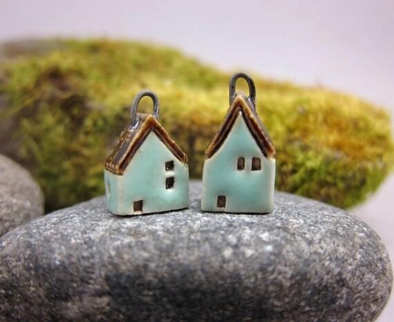 Turquoise GREEN...Miniature House Earrings