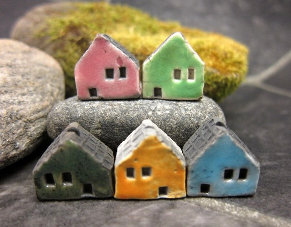 5 Saggar Fired Miniature House Beads...Pink Greens Yellow Blue
