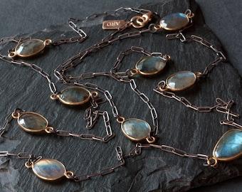 Long Labradorite Necklace- mixed metal
