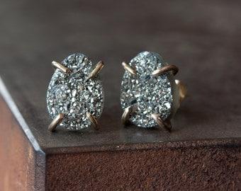 Titanium Silver Druzy Studs in 14kt Gold
