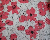 Fab Vintage Vera Twin Fitted Sheet Pink and Black Floral on White