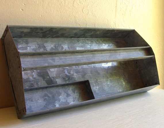 Galvanized Metal Tool Caddy Toolbox with Small Tray