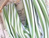 Green Striped Woman's  Scarf, Trendy Circular, Retro, and Infinity Scarf, Spring Accessories