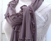 Womens Taupe Scarf or Shawl , Raw Ruffles, Cotton Knit, Raw Edged and Romantic