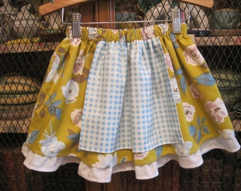Girls double layer apron skirt