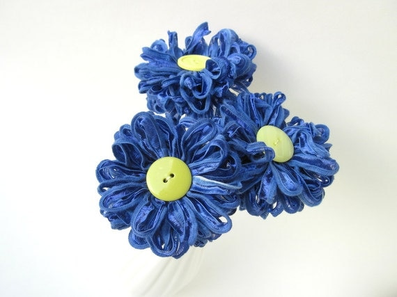 3 Periwinkle Blue Ribbon Flowers handmade fabric flowers