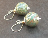 lampwork earrings sea green with gold doodle pattern- golden water drops