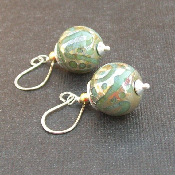 lampwork earrings sea green with gold doodle pattern- golden water drops