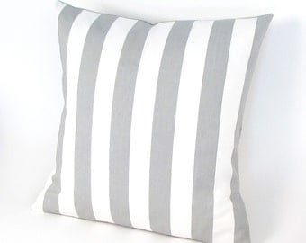 """Gray and White Stripe Pillow Cover 18"""",12 x 20""""  Grey Stripe Pillow, Toss Pillow, Throw Pillow"""