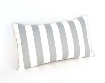 "Gray and White Stripe Pillow Cover 18"", 12 x 20"", 12 x 24""  Grey White Toss Pillow, Throw Pillow, Accent Pillow"