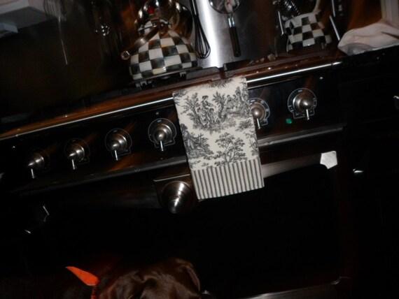 Black toile tea towel