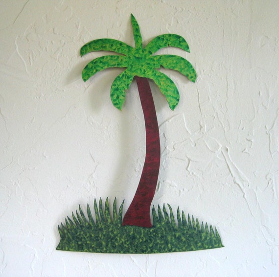 Art sculpture island metal wall decor - Palm Tree - reclaimed metal tropical wall art