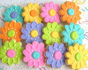 Flower Cookies - Flower Cookie Favors - Decorated Flower Cookies - 1 DOZEN