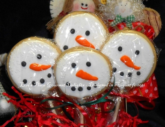 Reserved for Lindsey---Snowman Face Cookie Pops - 12 Cookies