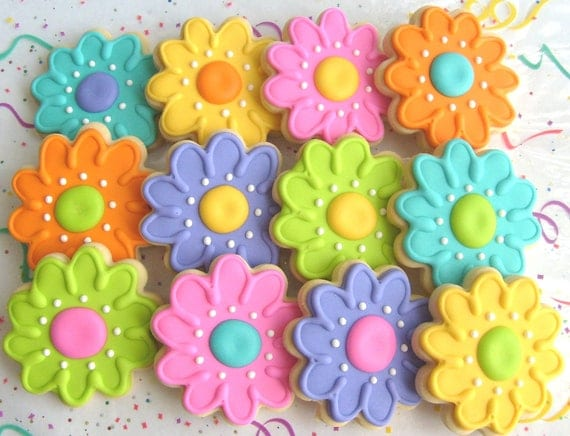 Reserved for Elyse---FLOWER GARDEN Decorated Cookie Favors - Flower Cookie Favors - Flower Decorated Cookie Favors - 1 DOZEN