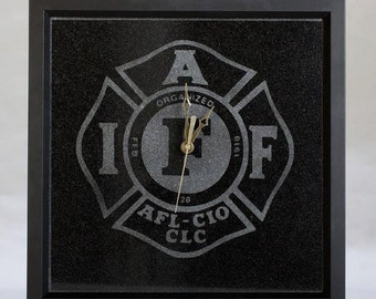 International Association of Firefighters Engraved Clock