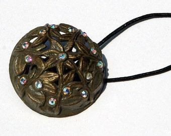 Rhinestone Hair Accessory - Button Ponytail Holder, Antiqued Brass with Rhinestones