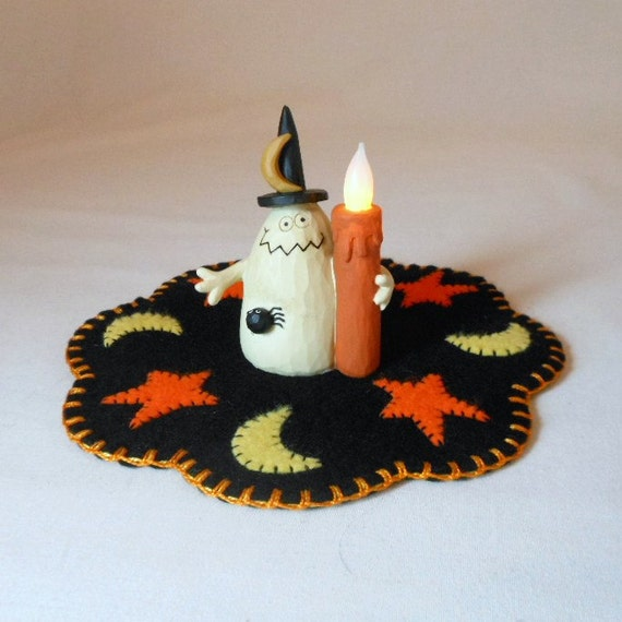 Halloween Design Penny Rug with Resin Ghost with Light