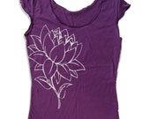 Womens LOTUS FLOWER Scoop Neck Tee - american apparel T Shirt S M L XL (7 Colors)