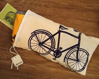 Vintage Bike GIFT BAG - Hand Printed Drawstring Cotton Bag with Gift Card