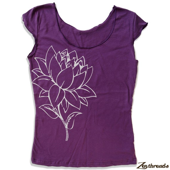 Womens LOTUS FLOWER Scoop Neck Tee - american apparel T Shirt S M L XL (7 Colors)