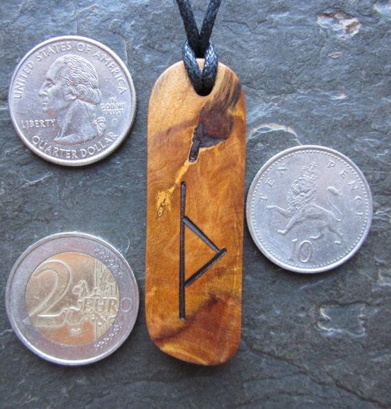 "Natural Wood Pendant - Blackthorn/Thurisaz - Unique Runic ""Secret Sigil"" Design."